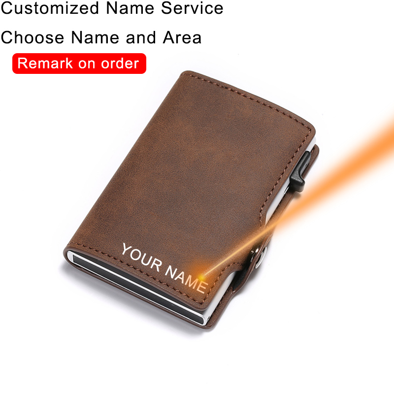 Engraving Rfid Leather Card Holder Wallet Men Slim Thin Wallet Money Bag Short Purse Small Customize Personalized Wallet Gift