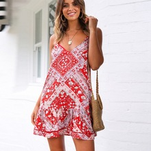 Women Sweet Summer Dress Fashion Floral Printed Sling Dress Vestido Female Casual Backless Sexy V-neck Sleeveless Mini Dresses sweet square neck sleeveless circle printed dress for women