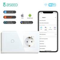 BSEED Wifi inteligente táctil interruptor de la UE estándar con oro blanco negro Panel de vidrio de cristal interruptor de la UE 1/banda 2/3/1/2/3 forma
