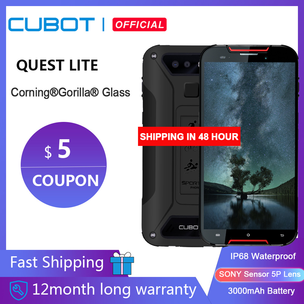 "Cubot Quest Lite Sport Robuuste Telefoon IP68 MT6761 5.0 ""3 Gb + 32 Gb 3000 Mah Android 9.0 Pie 4G Lte Dual Camera 13MP Type-C Gezicht Id"