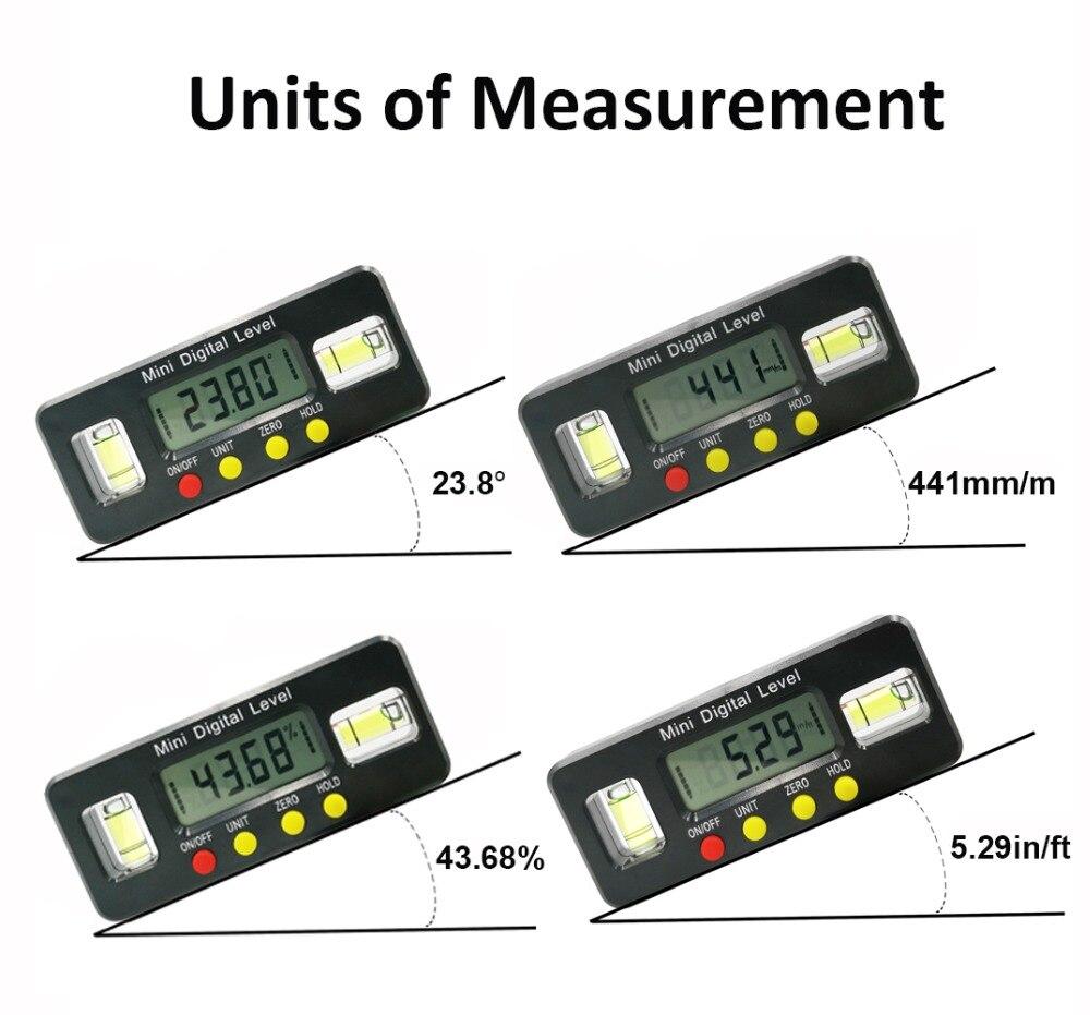 Buscador de /Ángulos 0-270 /° Inclin/ómetro Digital Transportador de /Ángulos Digital Nivel de Burbuja con Retroiluminaci/ón LED