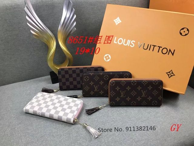 Louis vuitton-lv-luksusowe portfele damskie moda długa skórzana najwyższej jakości wizytownik klasyczna torebka damska portfel marki tanie tanio Płótno Krótki Stałe Unisex zipper Standardowe portfele CN (pochodzenie) embroidery