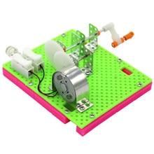 1 pcs 재미 있은 과학 물리적 실험 작은 발명 교육 장난감 diy 손 크랭크 발전기 모델 어린이 학습 장난감