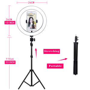 Image 4 - 10 Inch Led Ring Light Live Broadcast Photography Ringlight Lamp Hight Light with 110CM Tripod Stand for Photo Youtube Studio