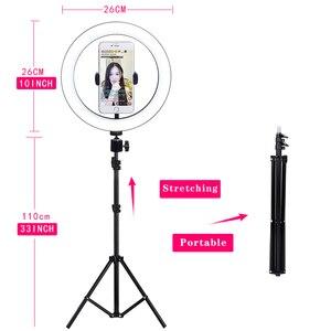 Image 4 - Anillo de luz Led de 10 pulgadas para fotografía en vivo, lámpara de luz de anillo, luz de altura con trípode de 110CM para estudio fotográfico de Youtube