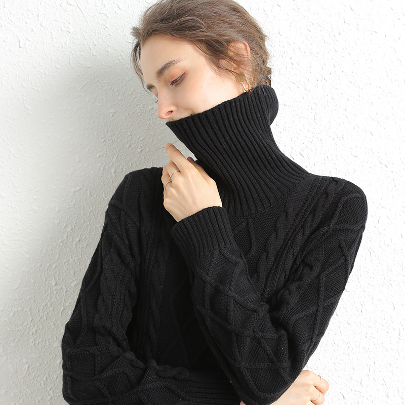 US $29.37 60% OFF|Turtleneck Long Sweater Dress Women Autumn Winter Thick Pullover knitted Jumper Cashmere Merino Wool Oversized Sweater|Pullovers|