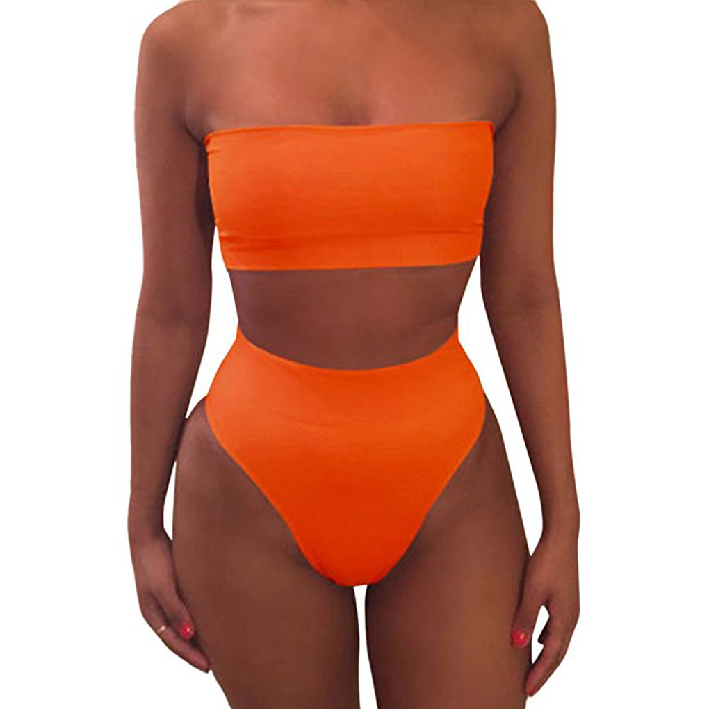 Hot Sale Solid Color Crop Bra Bikini Swimwear Female Two Pieces Swimsuit High Waist Bikini Beachwear Set For Women Girl