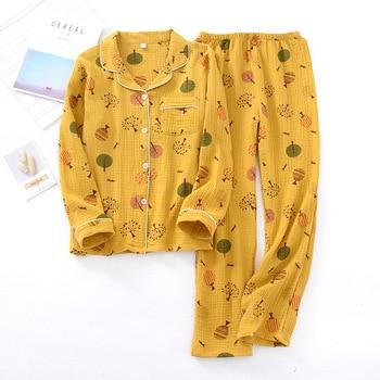 Women 100% Cotton Long-sleeved Pajamas Crepe Printing Pijama Mujer Loungewear Autumn Thin Sleepwear Home Clothing 2 Piece Suit - discount item  20% OFF Women's Sleep & Lounge