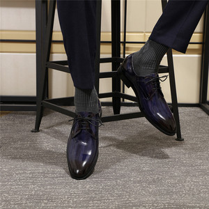 Image 5 - Erkekler Derby ayakkabı erkek siyah mavi Patent deri Patina el yapımı düğün elbisesi ayakkabı erkekler için Lace up resmi erkek resmi ayakkabı