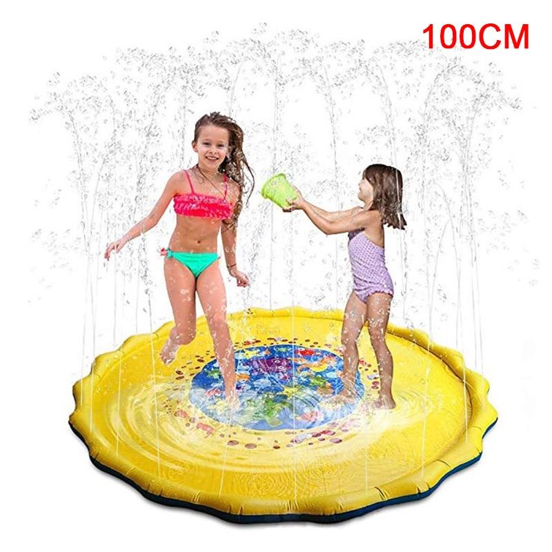100CM Summer Children Sprinkler Game Mat Lawn Sprinkler Mat Kids Inflatable Round Water Splash Play Pool Playing Sprinkler Mat