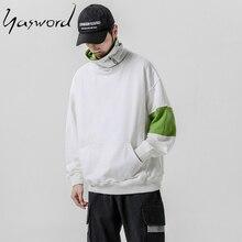 Yasword High Neck Hoodie For Men Original 2019 Turtleneck Sweatshirt Loose Sportswear Tracksuit Pullover Male Tops Outwear