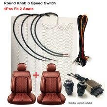 Cuscinetti per sedili riscaldati per riscaldamento riscaldato per auto in fibra di carbonio universale 12V Kit coprisedili per scaldino invernale interruttore rotondo a 6 livelli