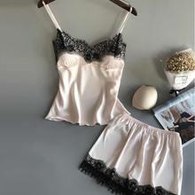 цена на Sexy Pajama Set Women'S Sleepwear Black Lace V-Neck Pyjamas Sleeveless Cute Cami Top And Short Pijama Mujer Women Bow Sleepwear