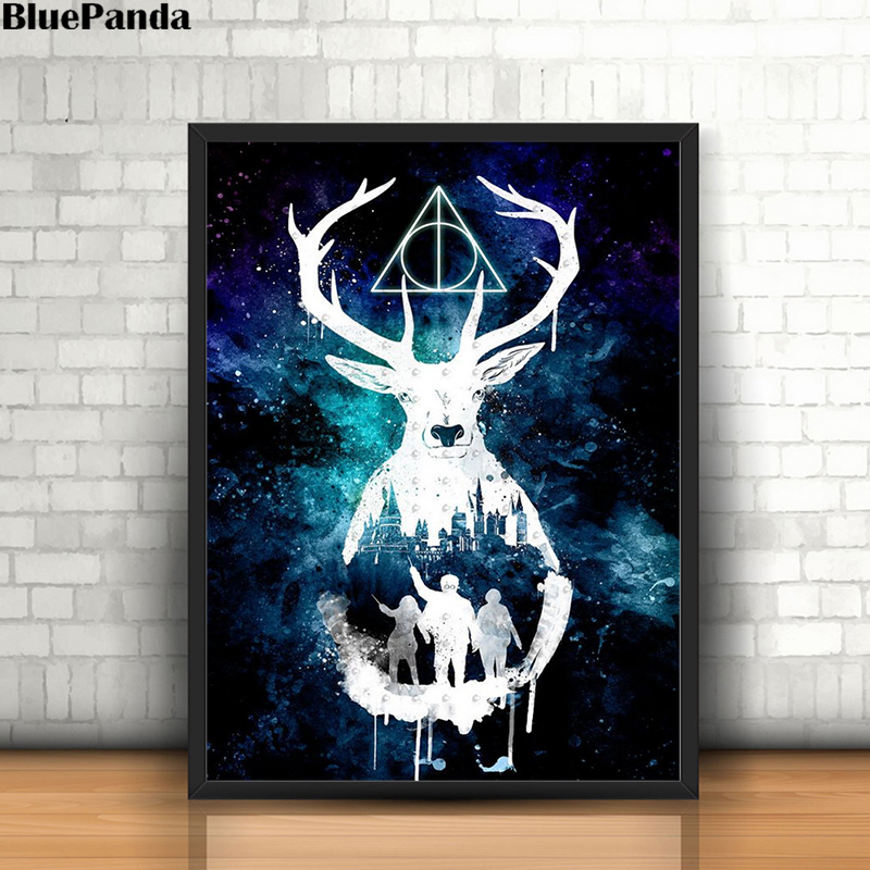 Harries Poster Deer Potteres Watercolor Canvas Painting Wall Art Print Modern Picture For Living Room Decoration Home Decor