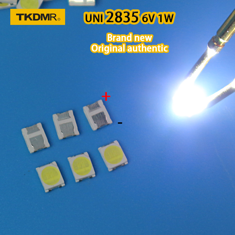 TKDMR 100pcs Original UNI LED 3528 2835 1210 Light Beads High Power 1W 6V Cool White For LED LCD TV Backlight Application
