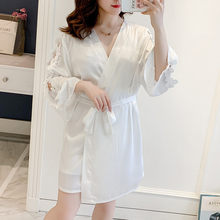 Fiklyc Spring New Sexy Suspenders Women's Robe Silk Long Sleeve Two-Piece Suit Home(China)