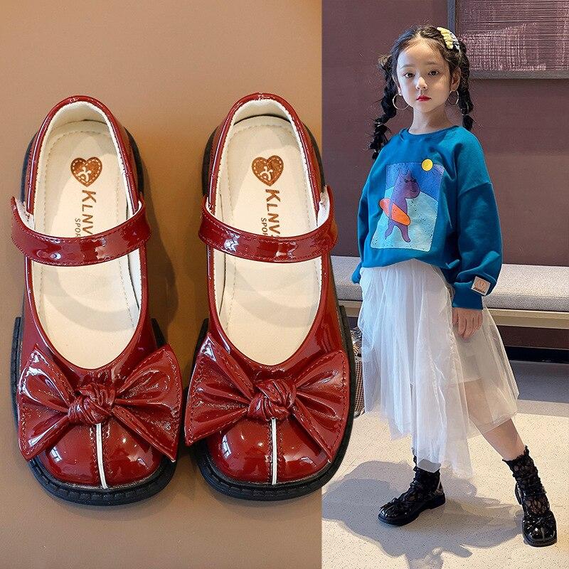 criancas sapatos de couro sapatos escola senhora chique doce 03