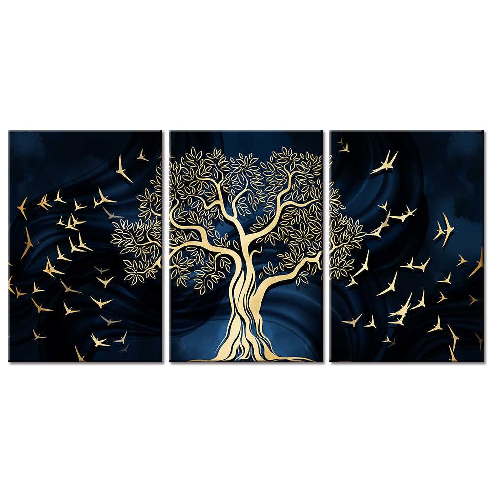 قماش لوحات HD يطبع الشمال مجردة الذهبي شجرة يترك المشهد صور ملصق جدار ديكور فني للمنزل