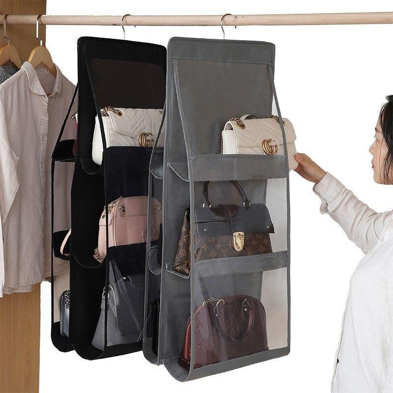 Foldable Hanging Handbag Clothes Organizer for things Wardrobe Closet Transparent Storage Bag handbag shopping bag Sundry Hanger