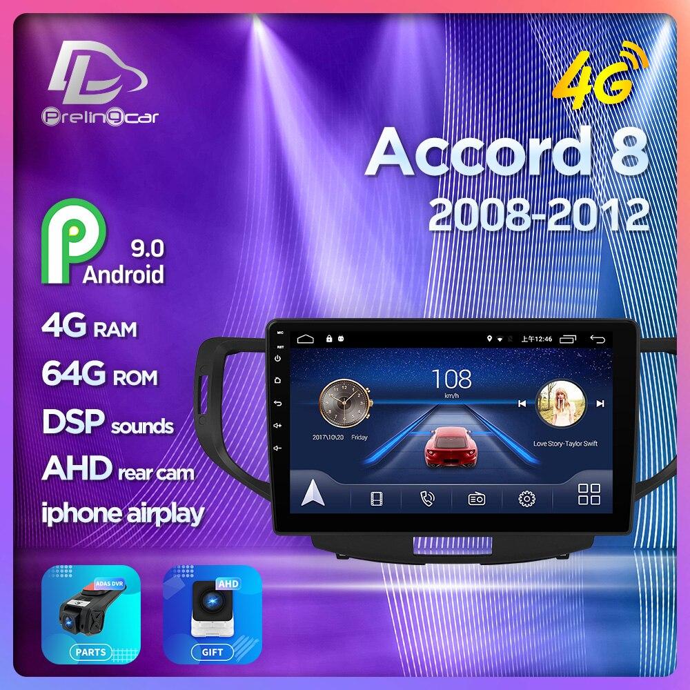Prélingcar pour Honda Accord 8 2008 2009 2010 2011 2012 NO 2din DVD 2din Android autoradio multimédia lecteur vidéo Navigation GPS