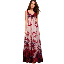 Nice-forever Summer Bohemian Beach Spaghetti Fairy Strap Dresses Casual Maxi Long Women Dress BTY053