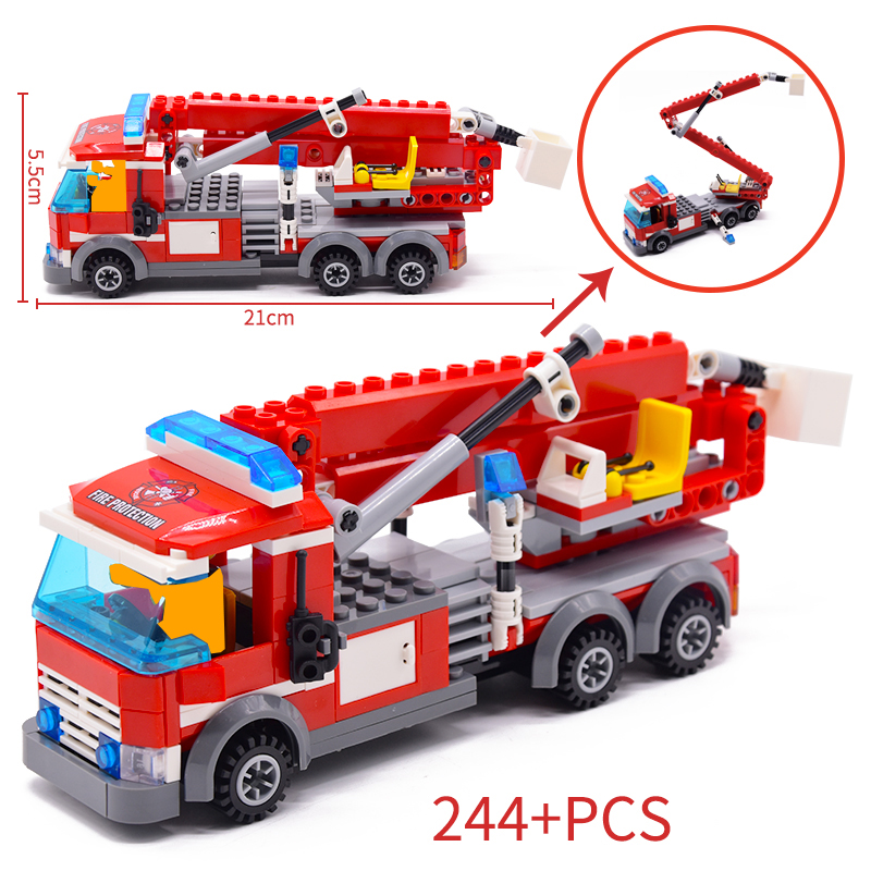 244pcs Fire Fighting Rescue Trucks Car Building Blocks Compatible City Firefighter Bricks Children Toys Christmas