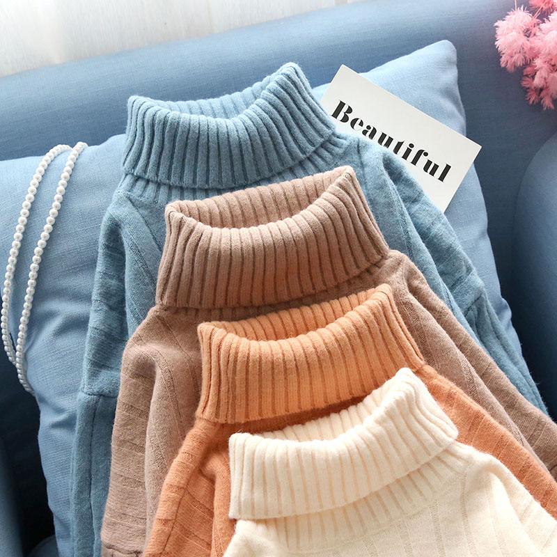 long turtleneck women sweater and pullovers knitted solid slim ruffles knee-length lady elegant dresses top quality