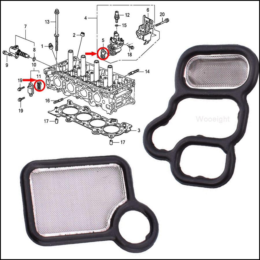 Spool Valve Filter Screen 15815-RAA-A01 For Honda New VTEC Solenoid Gasket