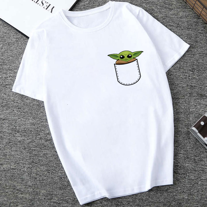 Showtly STAR WARS Men/Women New Funny Tiny Yoda Printed T-shirt Lady Fantastic Mandalorian Child Design Tops Novelty Tees