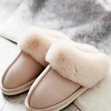 Furry Slippers Shoes Indoor Faux-Suede Plush Warm Full-Fur Women Ladies Luxury Home Bedroom