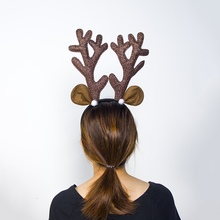 Christmas Antler Headband Brown Reindeer Decoration Hair Ornaments Gifts For Home H
