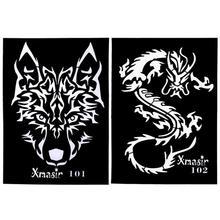 4 шт в дырочку татуировки Трафареты Прохладный Дракон волка тигра в форме карты DIY татуировки Шаблоны для Для женщин Для мужчин