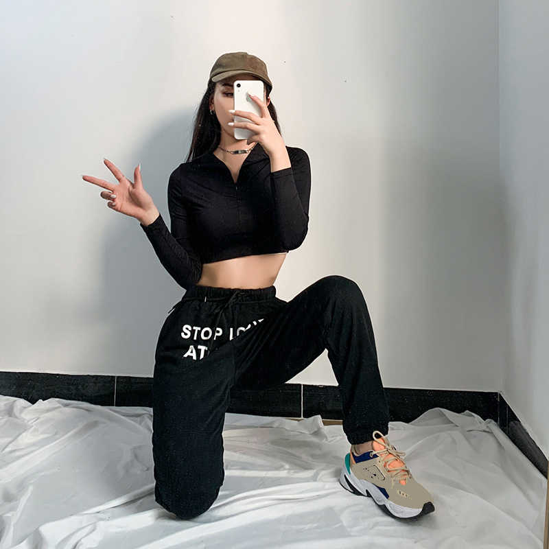 stop looking at my dick sweatpants  Letter Print Pants Women Black Cotton Joggers High Waist Cargo Trouser Casual Loose Hip Hop