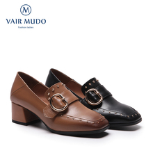 Women Pumps Shoes Genuine Leather Thick