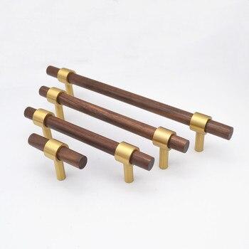 Wood Furniture Handle Brass Cabinet Handles Drawer Knobs Kitchen Handle Natural Wood Handle for furniture Pulls