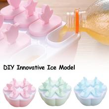 Homemade Food Grade Silicone Ice Cream Molds 2 Style Ice lolly Moulds Freezer Ice cream bar Molds Maker With Popsicle Sticks free shipping high production 4000 5000pcs day stainless steel 2 moulds ice cream popsicle ice lolly making machine