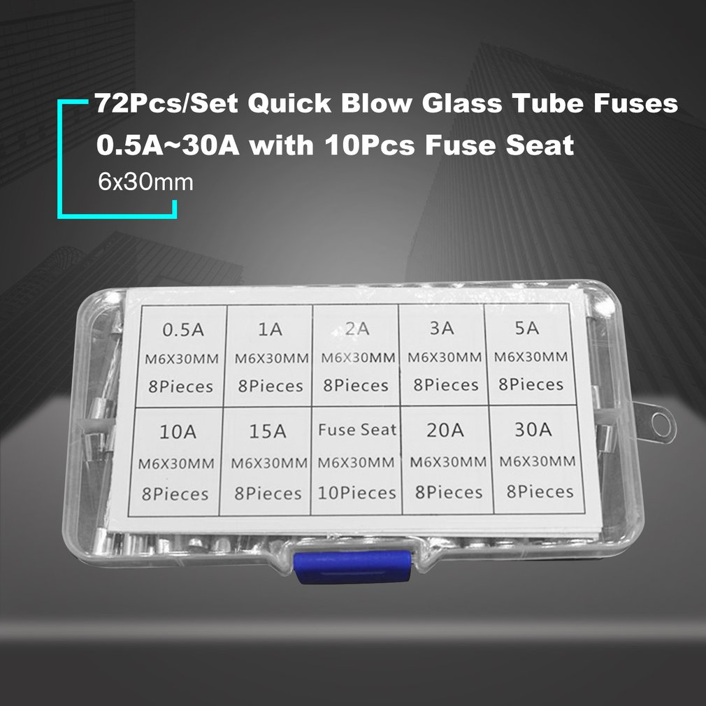 Romirofs 72PCS 6x30mm Fast Blow Fuse Glass Tube Fuse Assorted Mixed Kit Insurance Tube 0.5A//1A//2A//3A//5A//10A//15A//20A//30A