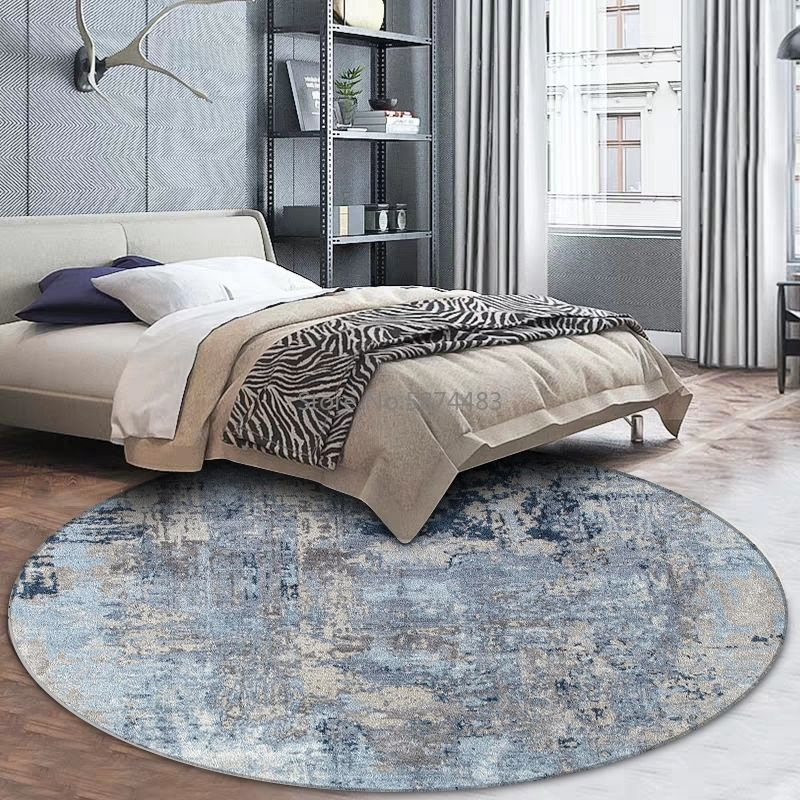 Nordic Round Area Rugs Abstract Blue Gray Watercolor Living Room Bedroom Carpets Children Play Tent Chair Non Slip Floor Mat Cerstyle Me