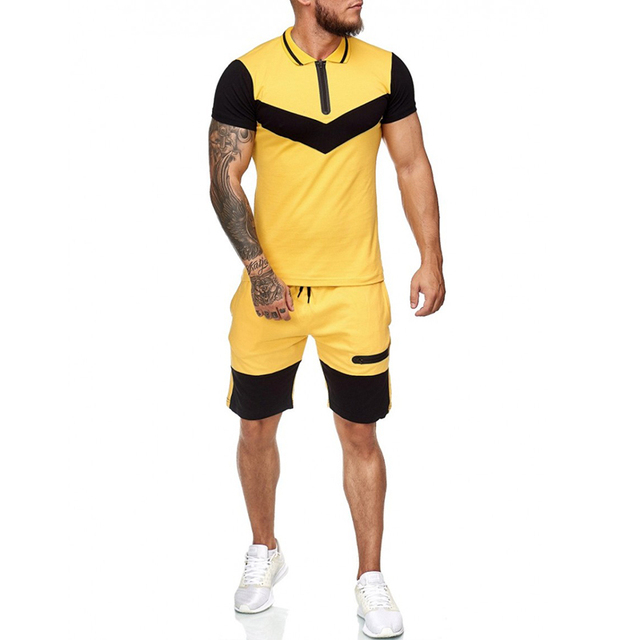 Summer Fashion Mens Shorts Sets 2021 Casual Color Matching Short Sleeved 2 Piece Set Running Sports Fitness Tracksuit Men 3