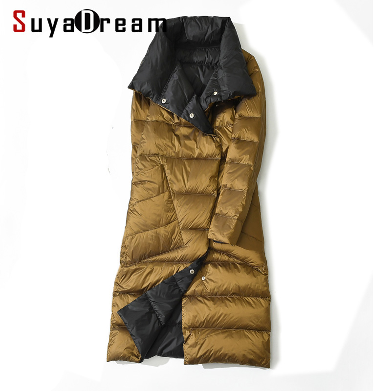 SuyaDream Women Two Sides To Wear Down Coats Quilted Reversible Long Warm Parkas 2019 Winter Outwear XXXL