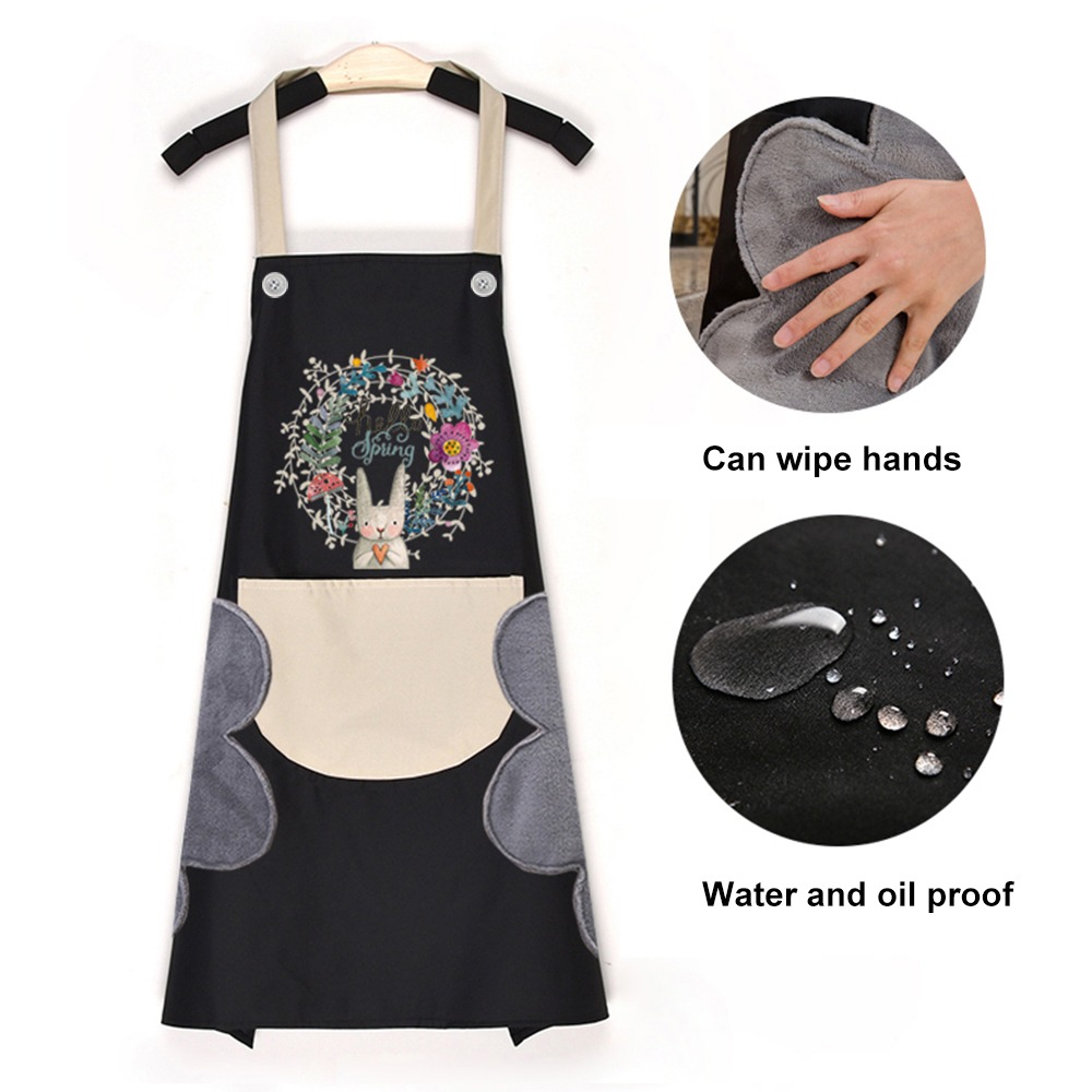 1Pcs Kitchen Wipeable Waterproof Oil Proof Cartoon Wreath Rabbit Kitchen Nail Shop Apron for Women Baking Accessories 2021 New