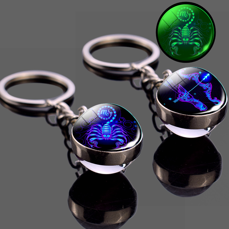 Glowing 12 Constellation Keychain Luminous Glass Ball Pendant Zodiac Key Rings Jewelry Birthday Gift Scorpio Leo Libra Keyrings