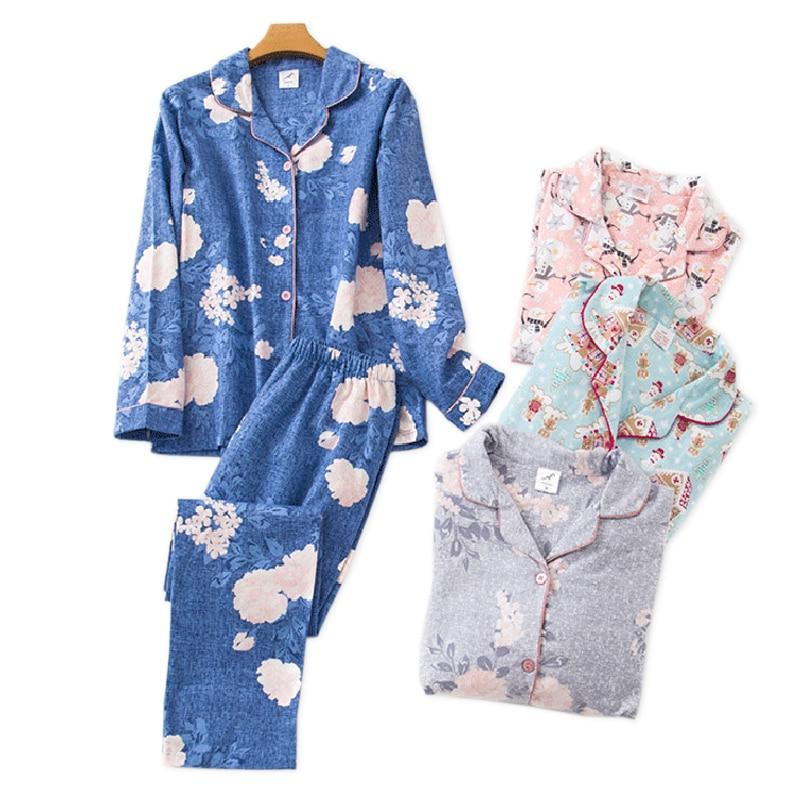 Korea Cute Cartoon 100% Cotton Pyjamas Women Pajamas Sets Autumn 100% Brushed Cotton Winter Warm Women Sleepwear Pijamas Mujer