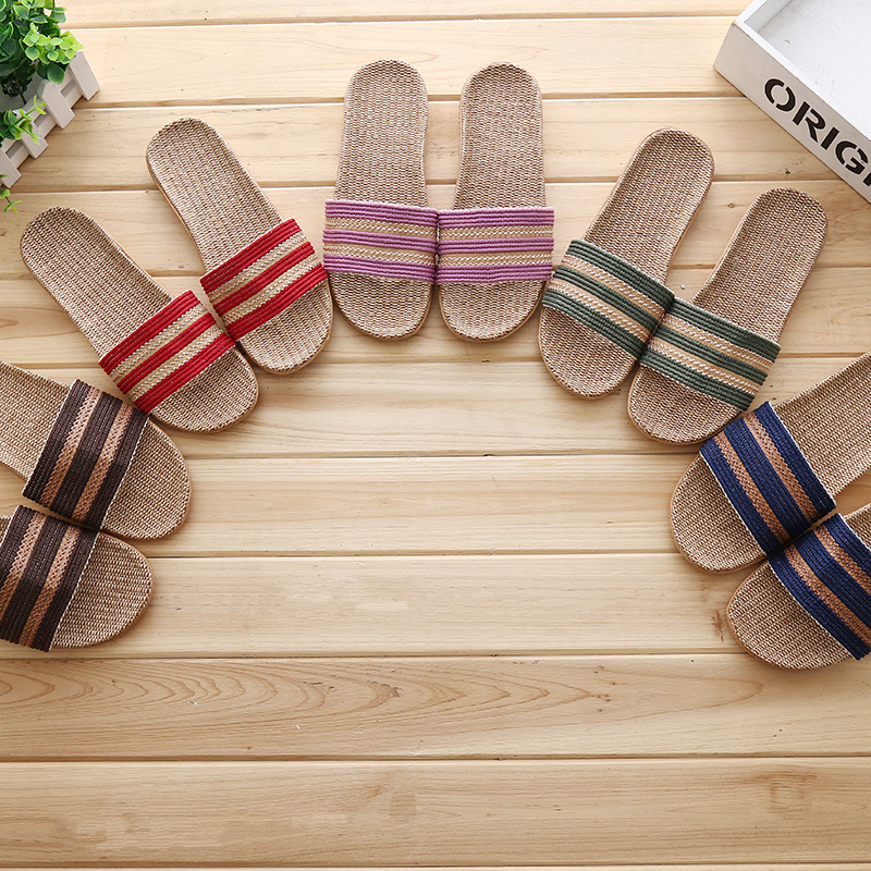 Home Wear-Resistant Leakage Toe Breathable Sweat Absorbing Deodorant Household Couples Women's Men's Linen Slippers Summer Line-