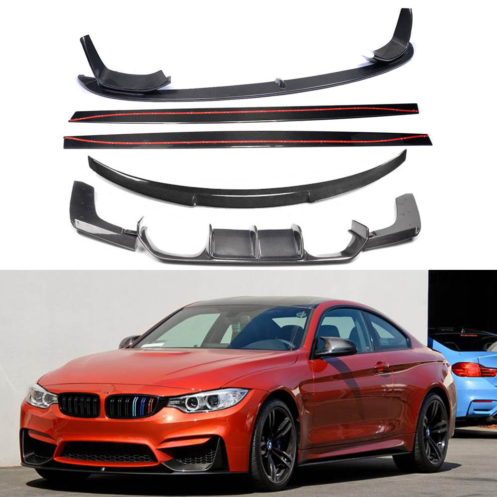 Carbon Fiber FRONT LIP BUMPER SPOILER+REAR TRUNK DIFFUSER +SIDE BODY KIT COVER FOR BMW F80 M3 F82 M4 2014 2015 2016 2017 image