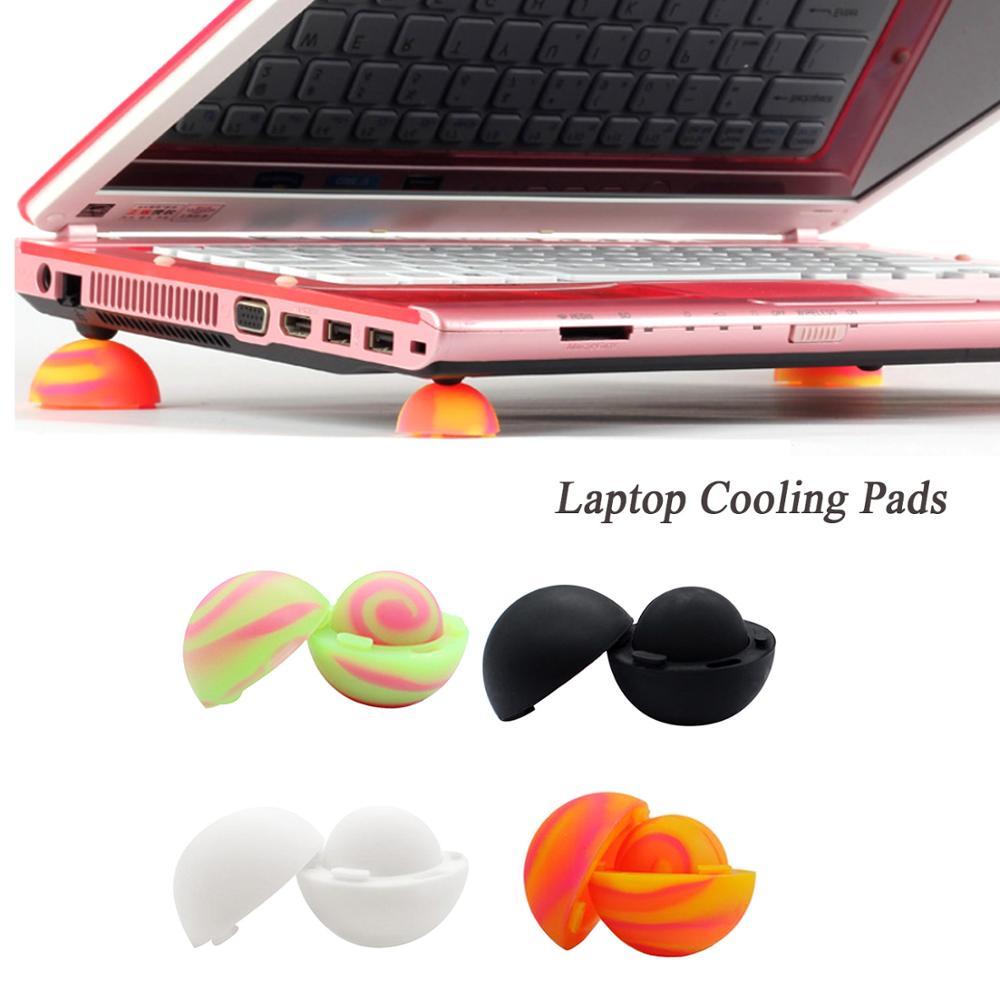 Besegad 4pcs/Set Laptop Cooling Pads Ball Cooler Universal Practical Notebook Skidproof Feet Heat Reduction Cooler Stand Holder