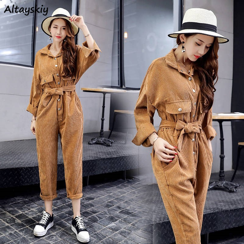 Jumpsuits Women Corduroy Vintage Pure Color Long Sleeve Jumpsuit Womens Korean Style Streetwear Black Ankle-length With Pockets