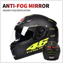 AD casque de moto à double miroir pour la chaleur et le confort motif personnalité avec feux arrière LED