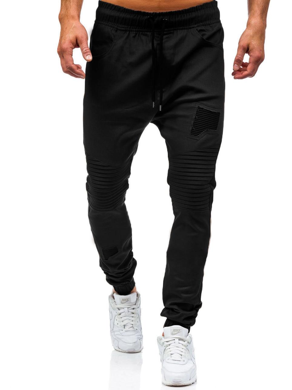 Men Sweatpants Casual Pants Slim fit Drawstring Sweatpants Slacks Elastic Waist Patchwork Pleated Ultrathin Male Trousers Jogger 13