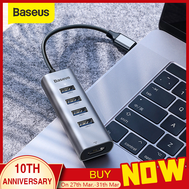 Baseus Multi USB C HUB To 3.0 USB HDMI Adapter For MacBook Pro Accessories Type C HUB RJ45 Card Reader Ethernet USB Splitter